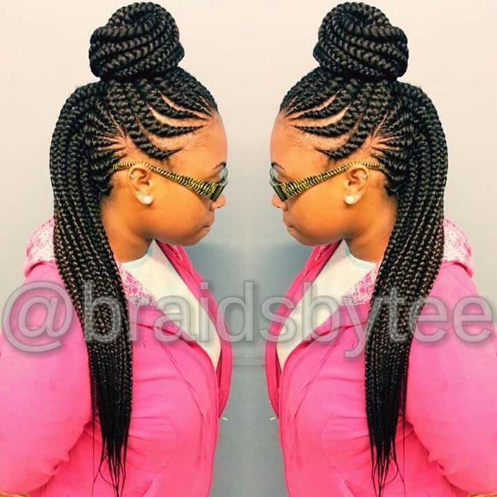 Ghana braids in a top bun!