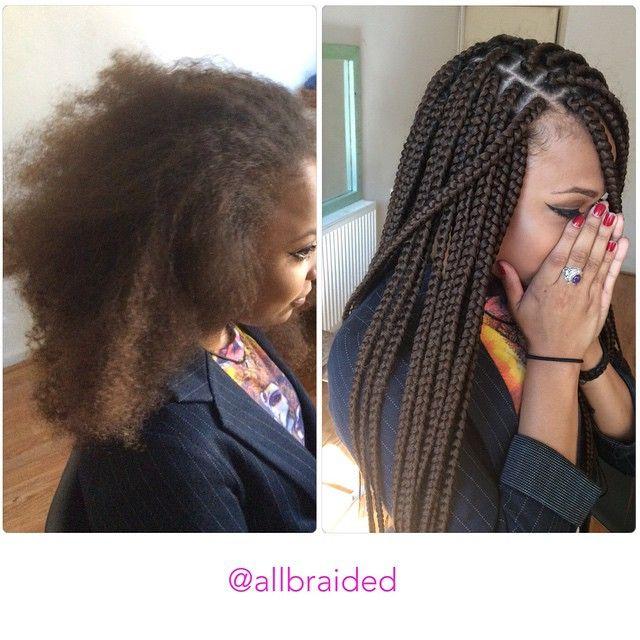 Medium sized box braid on a curly natural hair. Hair used xpression braiding hai...