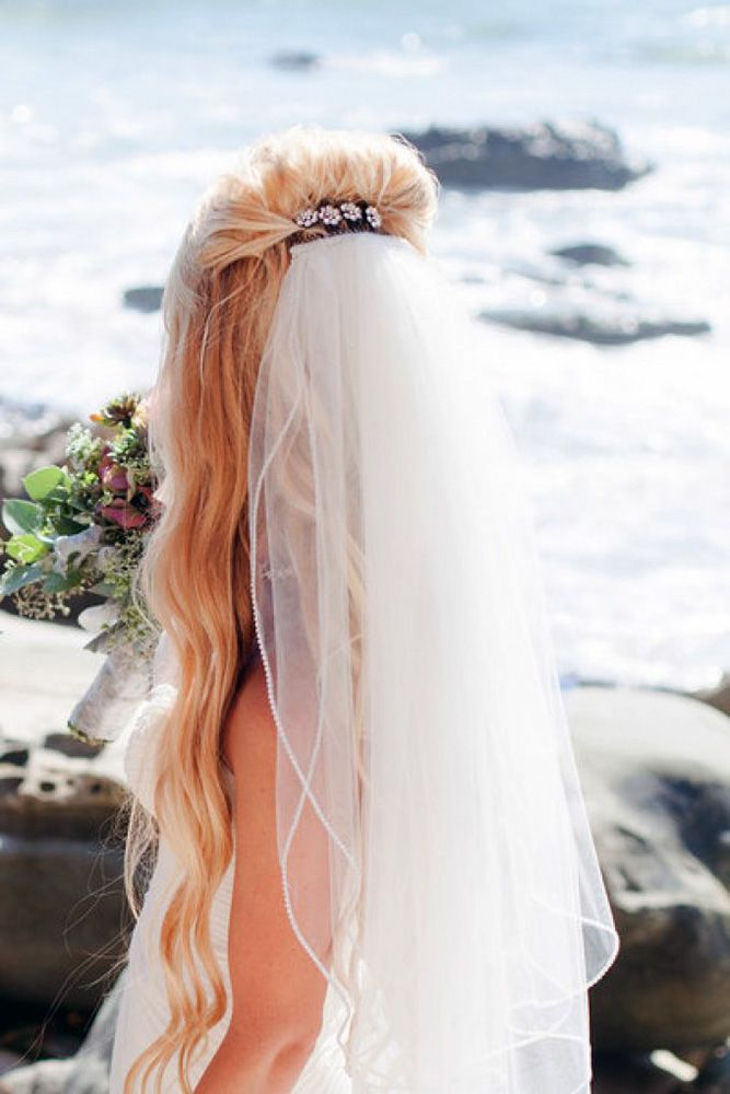 42 Wedding Hairstyles With Veil ❤ wedding hairstyles with veil long hair with ...