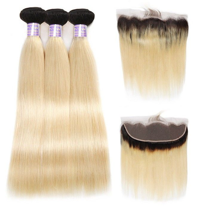 Allove Hair T1B/613 Ombre Bundles With Frontal Real Human Hair Ombre Straight Ha...