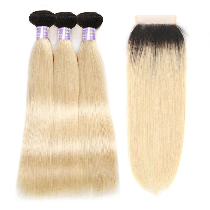 Allove Hair T1B/613 Ombre Straight Blonde Bundles With Closure Remy Hair Dark Ro...