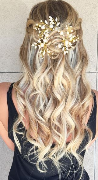 Wedding hairstyles up half up down with braid/Wedding hairstyles with vine headb...
