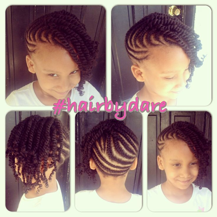 Cornrow And Twists Updo Combo Style - @hairbydare - www.blackhairinfo... #kidsha...