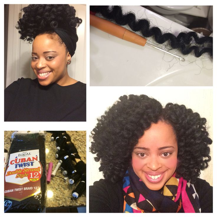 Crochet Braids with Cuban twist hair. Pre-curl the hair with white or pink rods,...