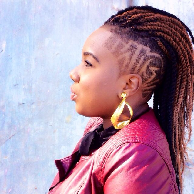 Marley twists. Protective style. Undercut design. Natural hair. Shaved sides