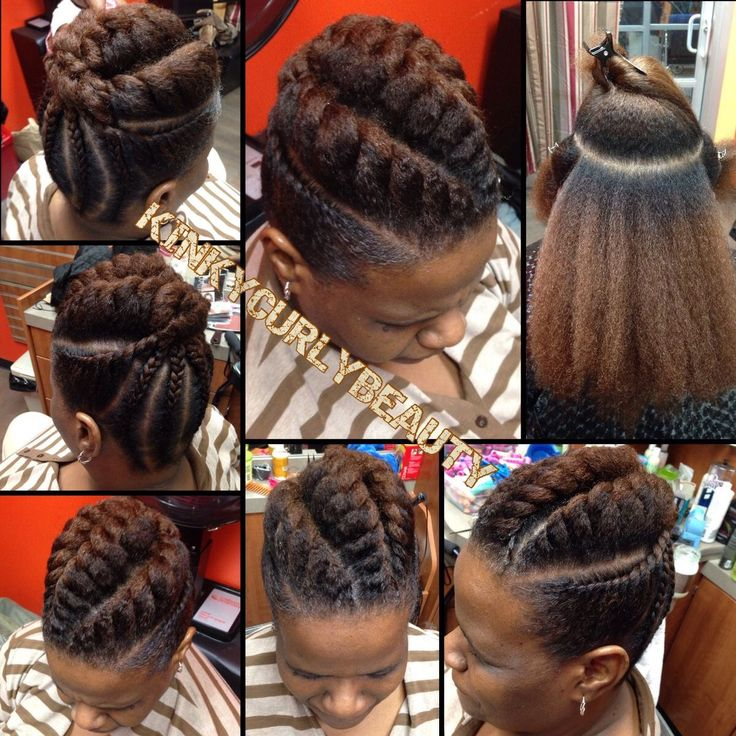 American and African Hair Braiding : Pretty Flat Twist Updo