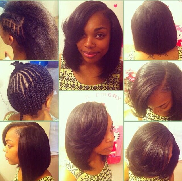 This short bob sew in looks amazing! You can't even tell it's not all he...