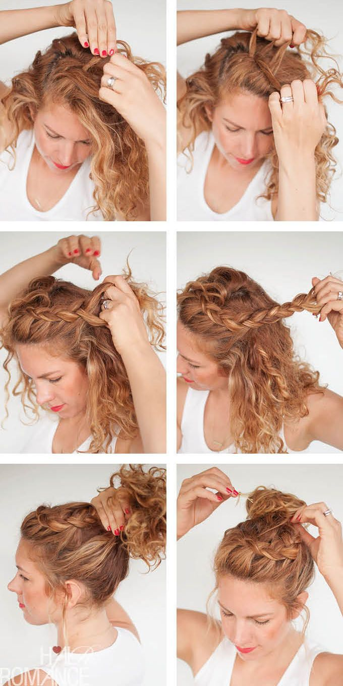 tutorial curly braided top knot