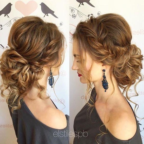 side braid curly wedding updo hairstyle via elstilespb