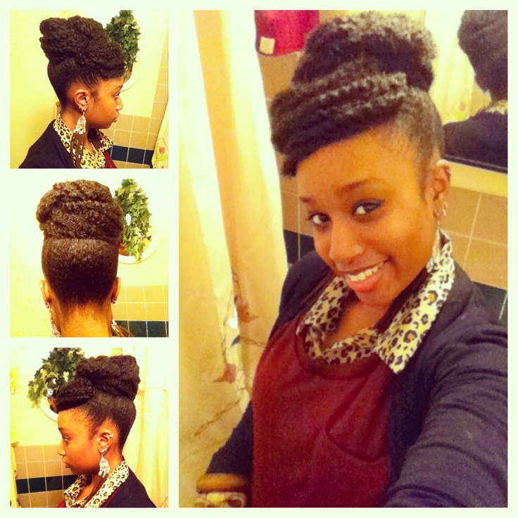 American And African Hair Braiding Faux Bun With Bangs