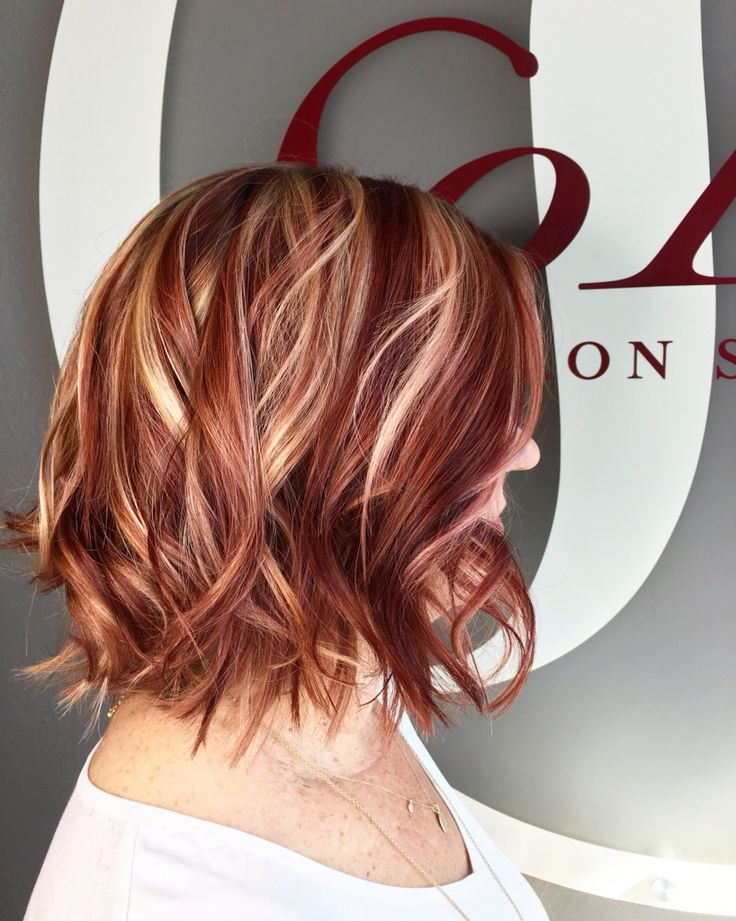 Red Hair Color Red And Blonde Highlight Lowlight Hair By