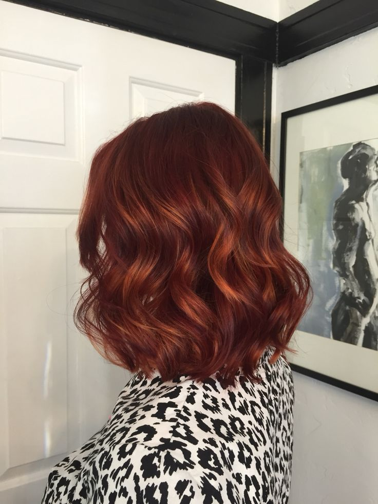 Trendy Hair Style : Rich, deep red with copper balayage. Gigi at Mecca Salon in Sacramento, CA....