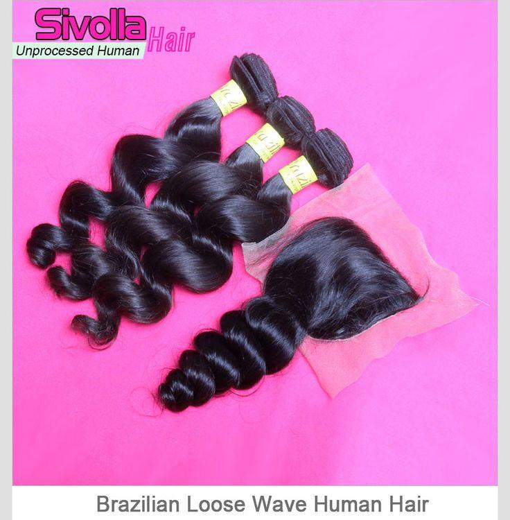 Top Grade Mix 3 Bundles With Lace Closure 4*4 Brazilian Loose Wave Virgin Human Hair Extensions SVH028