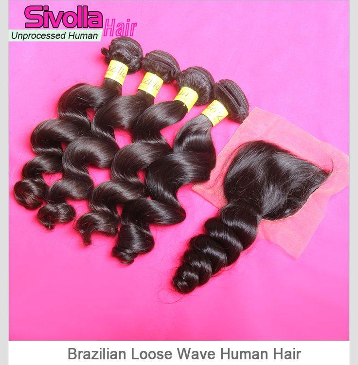 4 Pieces Loose Wave Brazilian Hair Bundles with 1pc Lace Closure(4*4) SVH029
