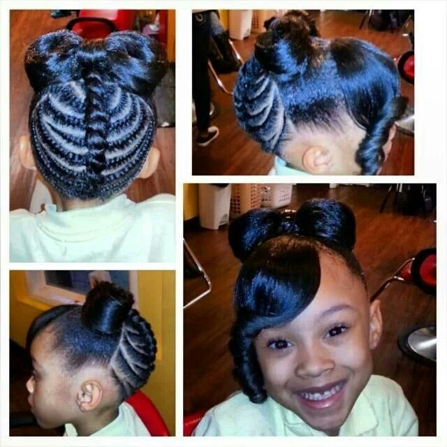 American And African Hair Braiding Cute Kids Style