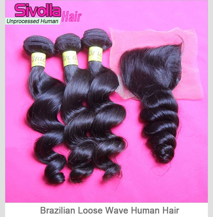 Top Grade Mix 3 Bundles With Lace Closure 4*4 Brazilian Loose Wave Virgin Human Hair Extensions SVH028