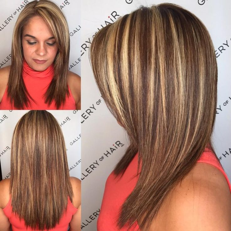 Layered Cut with Textured Ends-and Bold Chunky Highlights Medium Length Hairstyl...