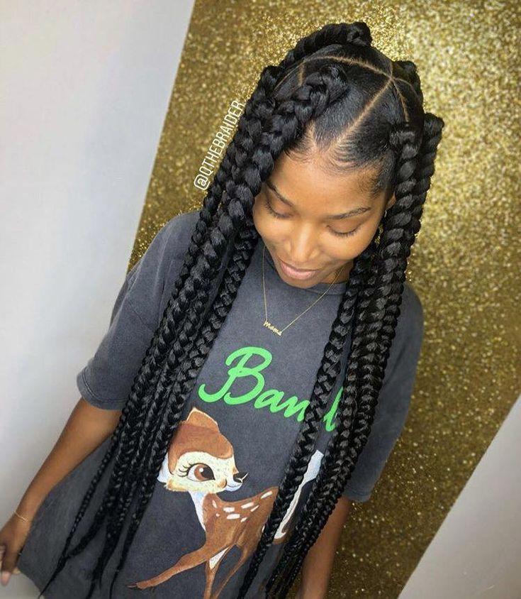 African Hair Braiding Jumbo Box Braids With Triangle